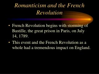 Romanticism and the French Revolution