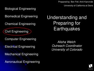 Understanding and Preparing for Earthquakes  Alisha Welch	 Outreach Coordinator