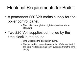 Electrical Requirements for Boiler