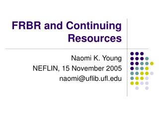 FRBR and Continuing Resources