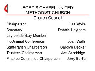 FORD'S CHAPEL UNITED  METHODIST CHURCH Church Council