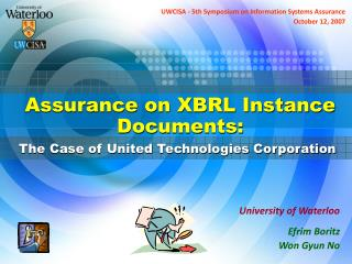Assurance on XBRL Instance Documents: