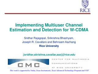 Implementing Multiuser Channel Estimation and Detection for W-CDMA