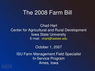 The 2008 Farm Bill