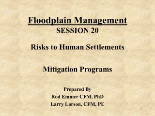 Floodplain Management SESSION 20