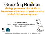 Giving graduates the skills to improve environmental performance in their future workplaces