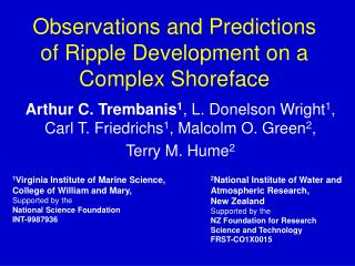 Observations and Predictions of Ripple Development on a Complex Shoreface