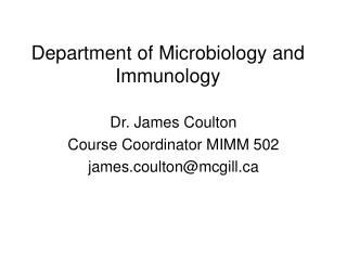 Department of Microbiology and Immunology