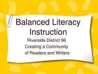 Balanced Literacy Instruction