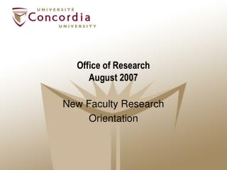 Office of Research August 2007