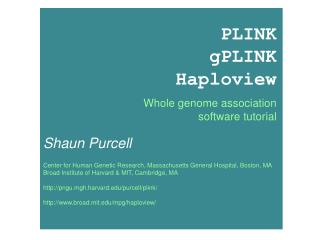 PLINK gPLINK Haploview Whole genome association software tutorial