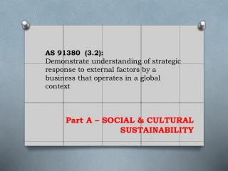 Part A – SOCIAL & CULTURAL SUSTAINABILITY