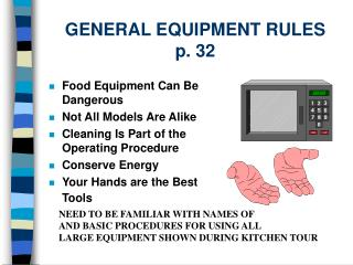 GENERAL EQUIPMENT RULES p. 32