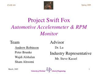 Project Swift Fox Automotive Accelerometer & RPM Monitor
