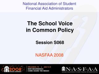 The School Voice in Common Policy Session S068