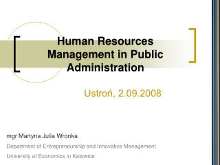 Human Resources Management in Public Administration