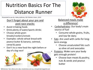 Nutrition Basics  F or  T he                 Distance Runner
