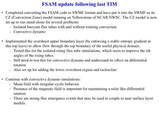 FSAM update following last TIM