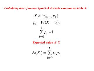 Probability mass function  (pmf) of discrete random variable  X
