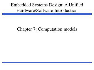 Chapter 7: Computation models