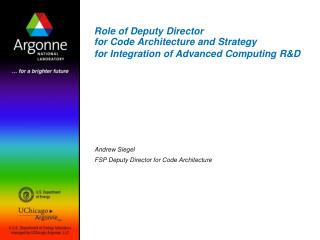 Andrew Siegel FSP Deputy Director for Code Architecture