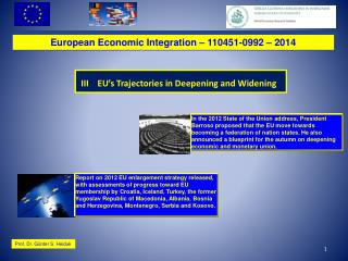 European Economic Integration – 110451-0992 –  2014