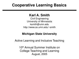 Cooperative Learning Basics
