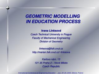 GEOMETRIC MODELLING  IN EDUCATION PROCESS