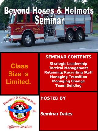 SEMINAR CONTENTS Strategic Leadership Tactical Management Retaining/Recruiting Staff