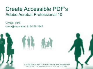 Create Accessible PDF's