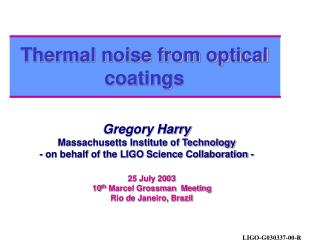 Thermal noise from optical coatings