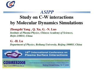Study on C-W interactions  by Molecular Dynamics Simulations