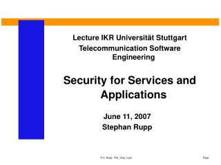 Security for Services and Applications