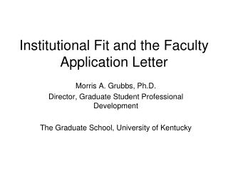 Institutional Fit and the Faculty Application Letter
