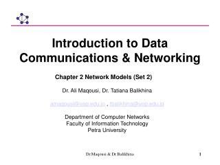 Introduction to Data Communications & Networking