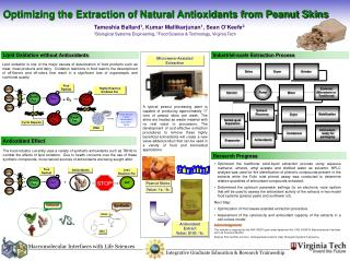 Optimizing the Extraction of Natural Antioxidants from Peanut Skins
