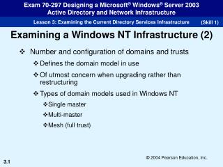 Number and configuration of domains and trusts Defines the domain model in use