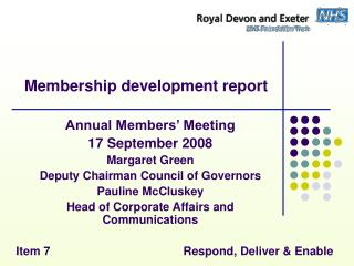 Membership development report
