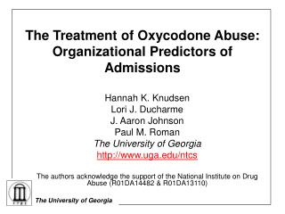 The Treatment of Oxycodone Abuse: Organizational Predictors of Admissions