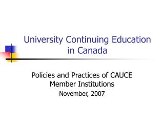 University Continuing Education in Canada