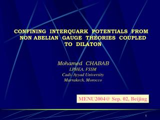 CONFINING  INTERQUARK  POTENTIALS  FROM     NON ABELIAN  GAUGE  THEORIES  COUPLED   TO  DILATON