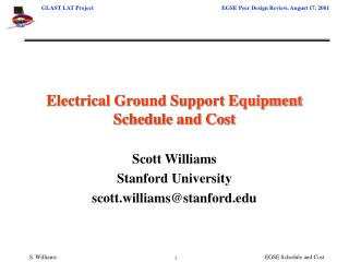 Electrical Ground Support Equipment Schedule and Cost
