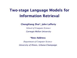 Two-stage Language Models for Information Retrieval
