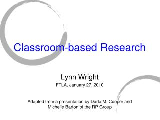 Classroom-based Research