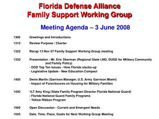 Florida Defense Alliance Family Support Working Group