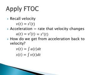 Apply FTOC