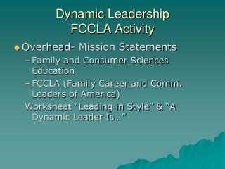 Dynamic Leadership FCCLA Activity