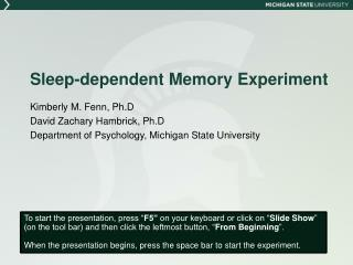 Sleep-dependent Memory Experiment