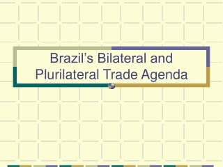 Brazil's Bilateral and Plurilateral Trade Agenda