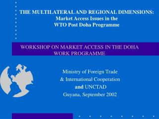 WORKSHOP ON MARKET ACCESS IN THE DOHA WORK PROGRAMME